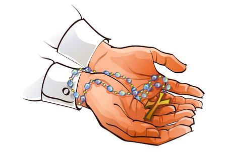 Close-up van de handen van een persoon met een rozenkrans Stock Illustratie