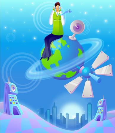Man sitting on a planet Illustration