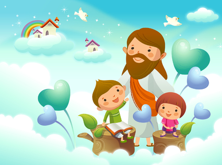 Jezus Christus met twee kinderen op de wolk Stock Illustratie