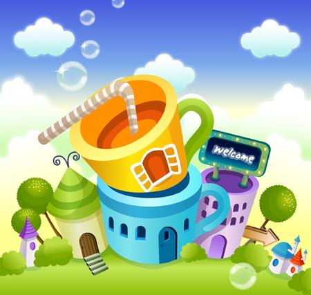 紅茶のカップの形をした建物  イラスト・ベクター素材