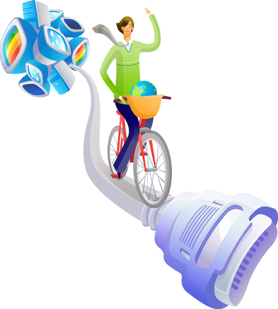 Businesswoman cycling on a computer cable Illustration