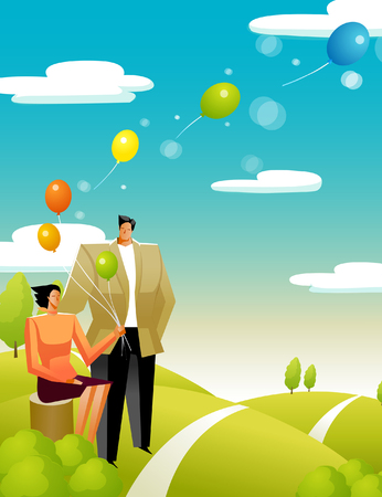 plant stand: Woman holding balloons with a man standing beside her