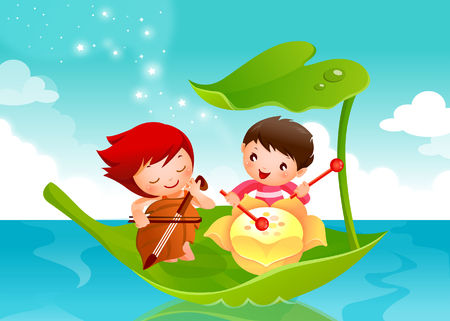 Boy and a girl playing musical instruments and floating on a leaf