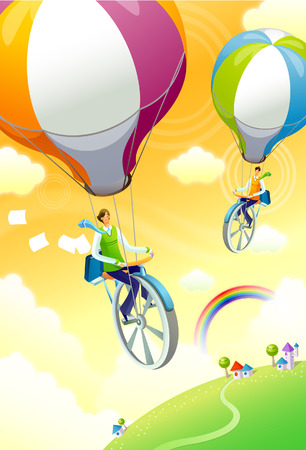 rainbow sky: High angle view of two people unicycling with hot air balloons
