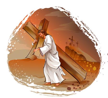 Jésus-Christ portant un crucifix sur ses épaules Banque d'images - 78587744