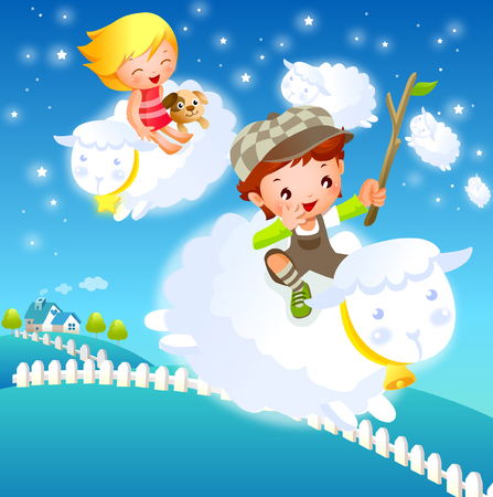 Boy and a girl riding sheep in the sky Illustration