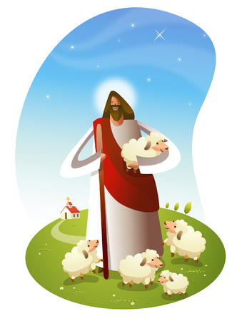 Jesus Christ standing with sheep