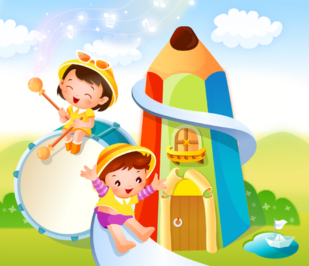 sliding colors: Boy sliding on a slide and a girl playing a drum with drumsticks