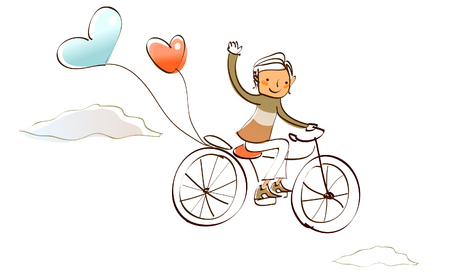 mode of transport: Man riding a bicycle and waving his hand