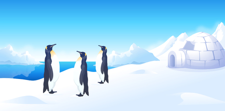 Three penguins standing near an igloo Illustration