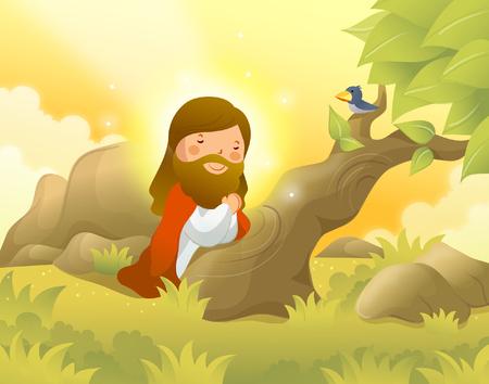 イエス ・ キリストひざまずいて、祈って