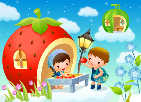 Girl selling apples to a boy Illustration