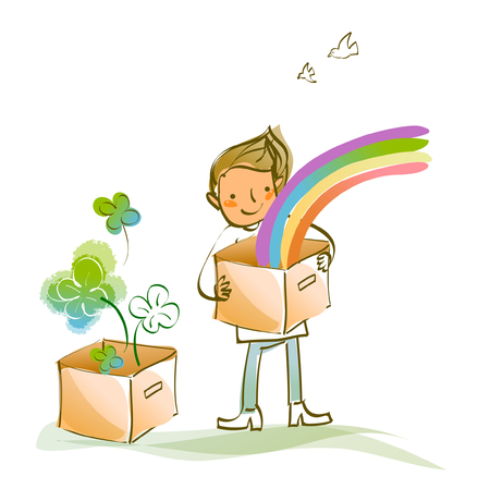 Man holding a cardboard box with a rainbow in it Illustration