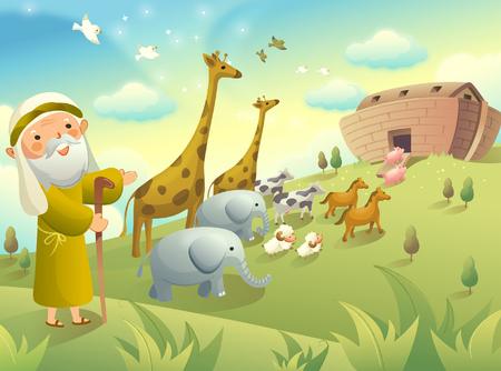 Noah haciendo gestos y grupo de animales caminando a un arca
