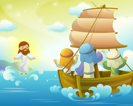 Jesus Christ giving blessings to three wise men in a sailboat Illustration
