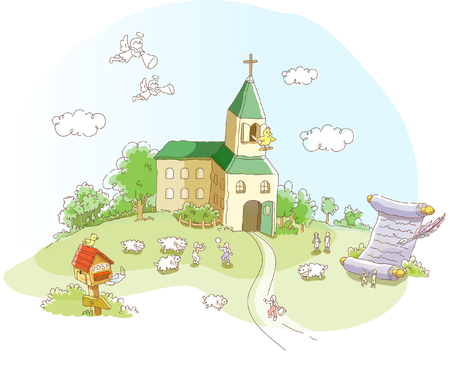 place of worship: Church in a garden Illustration