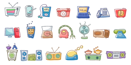 personal data assistant: Close-up of various types of objects Illustration