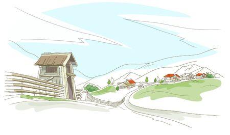 rolling landscape: Houses in a village Illustration