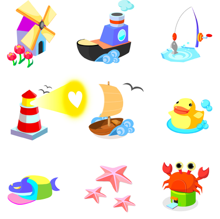 Various animals with boats on a white background Illustration