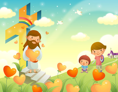 rolling landscape: Jesus Christ holding a heart shape flower and standing with two children