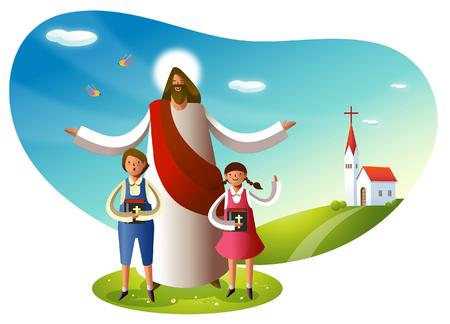 イエス ・ キリストは 2 人の子供の側に立って