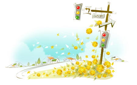Close-up of a traffic light with flowers Illustration