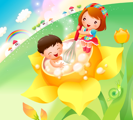 Boy taking bubble bath and a girl helping him Illustration