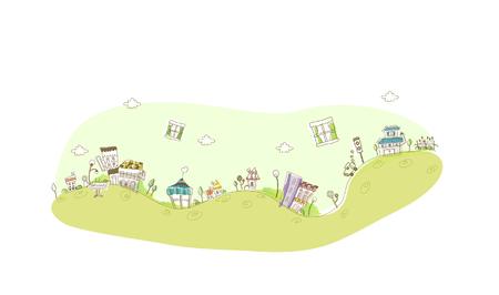 Buildings on a hill range Illustration