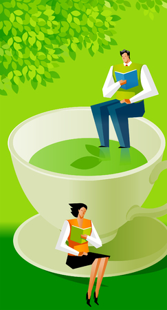 Man and a woman sitting on a tea cup and a saucer and reading books