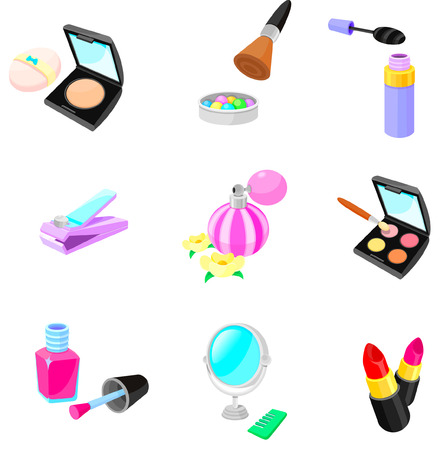 Various make-up related objects on a white background Illustration