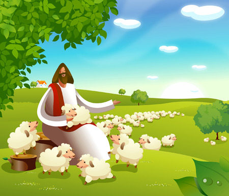 Jesus Christ sitting with a flock of sheep