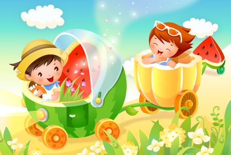 Boy and a girl in a toy vehicle