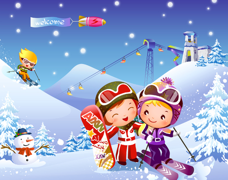 blimp: Two boys and a girl skiing Illustration