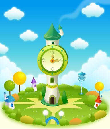 Clock tower in a field