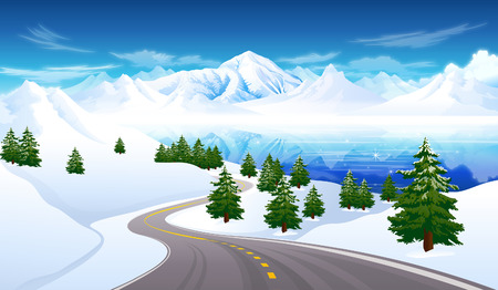 snowcapped mountain: Road passing through a polar landscape