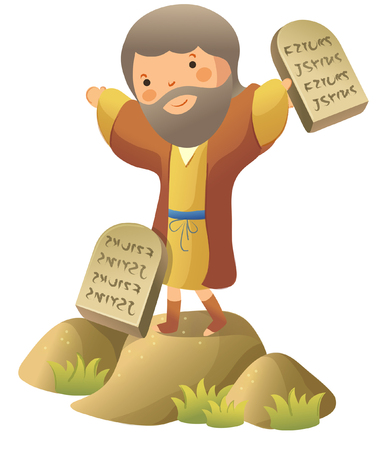 Moses standing and holding ten commandments