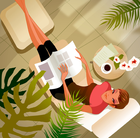 High angle view of a woman with a magazine lying on a lounge chair Illustration
