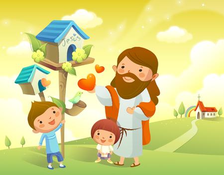 イエス ・ キリストと巣箱近くに立っている 2 人の子供