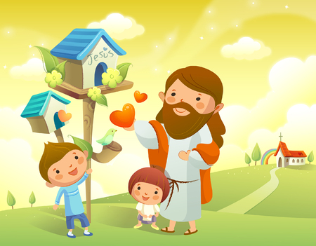 Jesus Christ and two children standing near a birdhouse