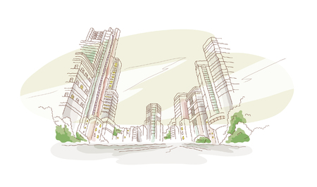 Low angle view of skyscrapers Illustration