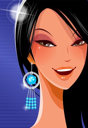 earrings: Portrait of a woman smiling Illustration