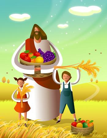 イエス ・ キリストの少年と少女が彼の前に立っている果物のバスケットを持って