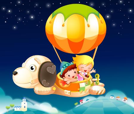 Boy and a girl in a hot air balloon