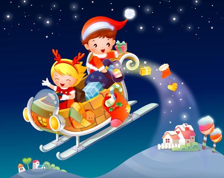 Santa Claus throwing gifts