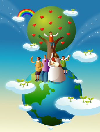 イエス ・ キリストの家族と一緒に立っています。  イラスト・ベクター素材