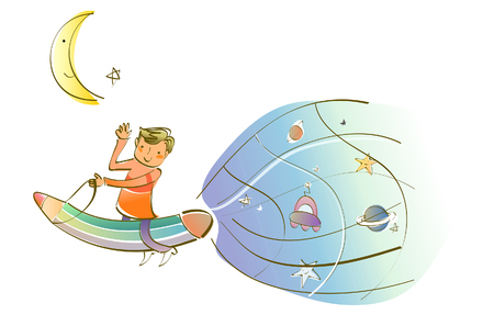 Man traveling on a space travel vehicle Illustration