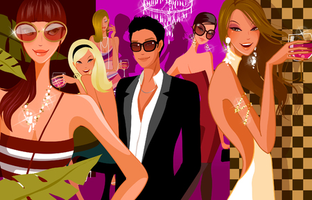 Five women and a man in a nightclub Illustration