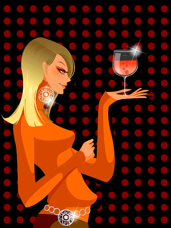 earrings: Side profile of a woman holding a wine glass