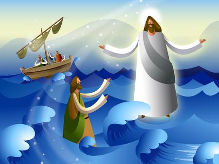 Seitenansicht eines Mannes betteln Gnade vor Jesus Christus im Meer Standard-Bild - 78631612