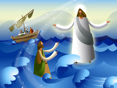 Side profile of a man begging grace in front of Jesus Christ in the sea Illustration